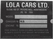 Lola cars replacement vin chassis plate