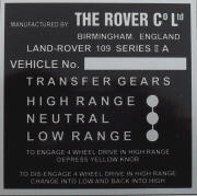 Land Rover replacement blank vin plate