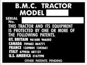 Replacement BMC tractor blank VIN plate