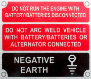 Land Rover battery warning plate