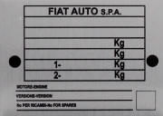 Fiat Auto replacement blank VIN plate