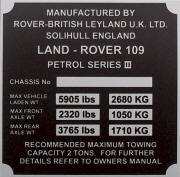 Land Rover replacement blank VIN plate, 109 petrol