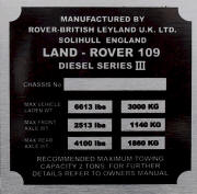 Land Rover replacement blank VIN plate ,109 Diesel