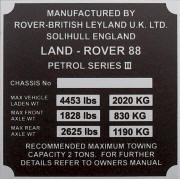 Land Rover replacement VIN plate, 88 series 3