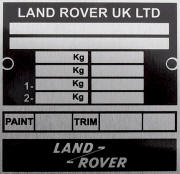 Land Rover replacement blank VIN plate, DEF 1