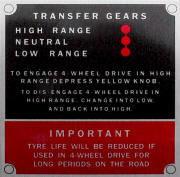Land Rover 4 x 4 information plate