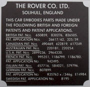 Land Rover patents plate