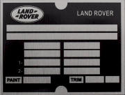 Land Rover replacement blank VIN plate, LR 1