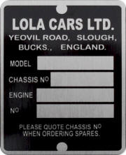 Lola Cars replacement blank VIN plate