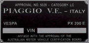 Replacement Piaggio blank VIN frame plate