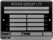 Rover group replacement blank VIN plate, RGL 1