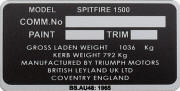 Spitfire 1500 replacement blank VIN plate