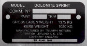 Triumph Dolomite replacement blank VIN plate