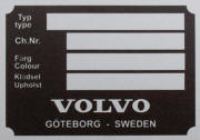 Volvo replacement blank VIN plate