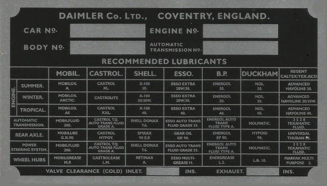 Daimler Jaguar cars Coventry replacement VIN Chassis plate