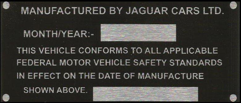 Jaguar cars export VIN ID chassis tag