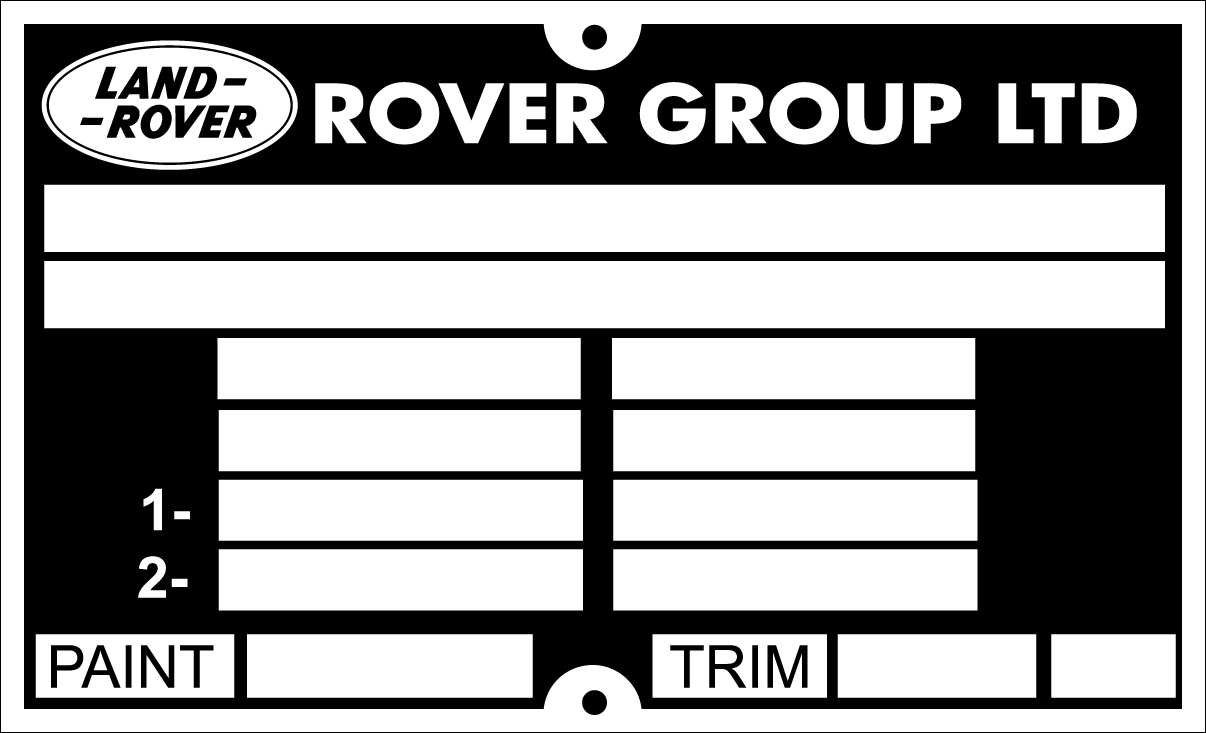 Later Range Rover replacement VIN Chassis plate