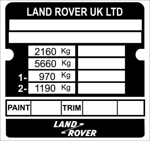 Land Rover Military Lightweight replacement VIN Tag