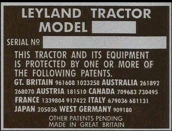 Leyland compact tractor VIN chassis plate
