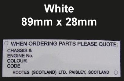 Sunbeam Alpine Tiger Rapier Hillman Chassis VIN Plate, white with corner on. Paisley, Scotland